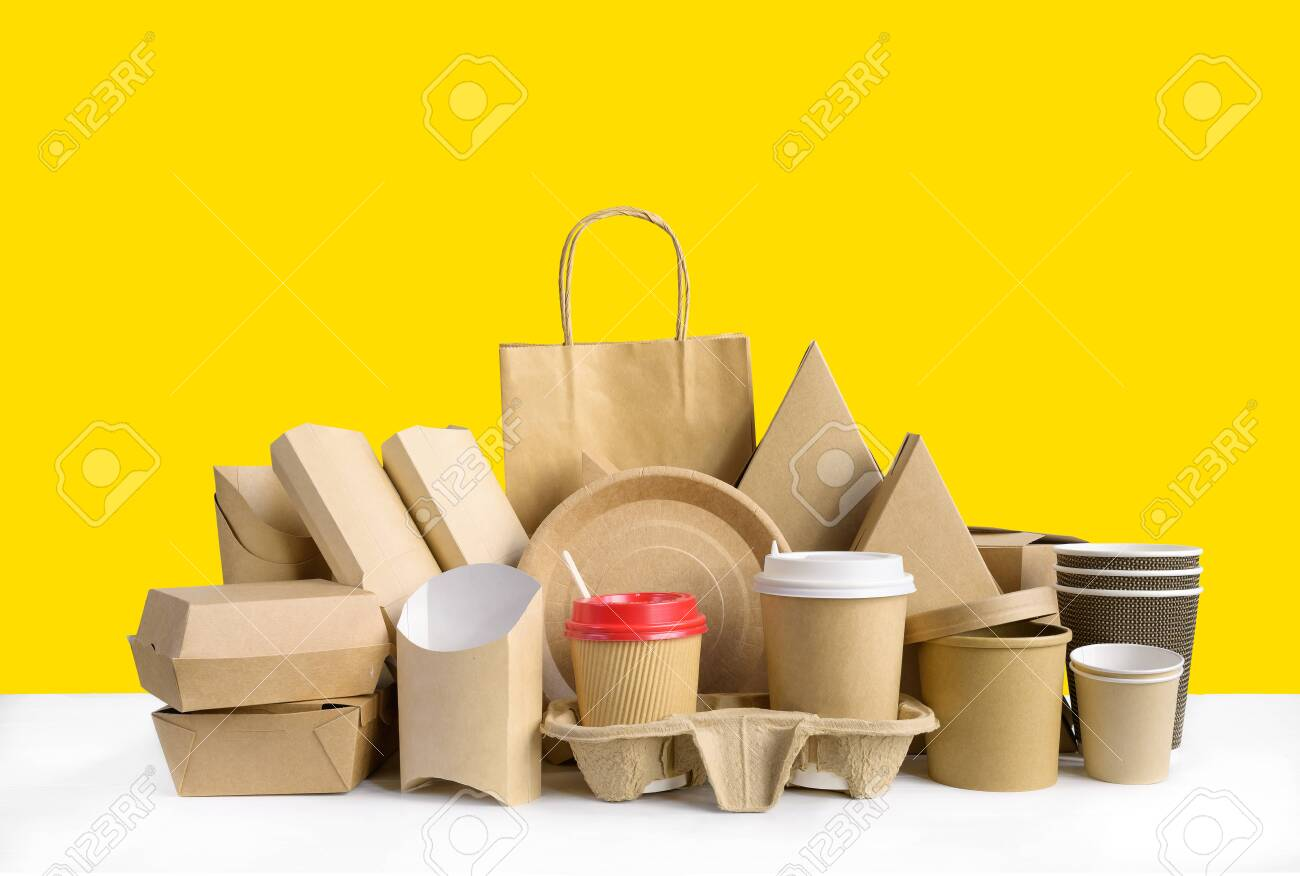 Fast food packaging set on yellow background. - 145261088
