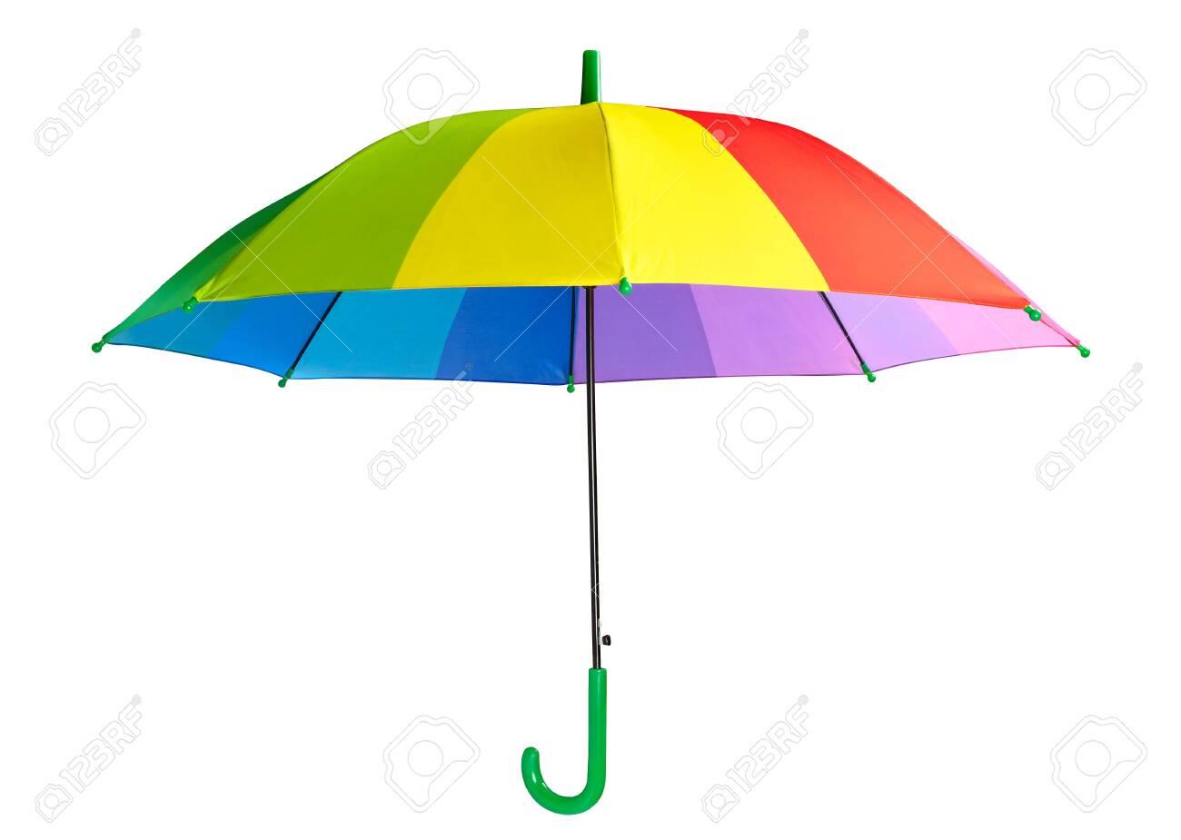 Multicolored umbrella isolated on the white background - 157021439
