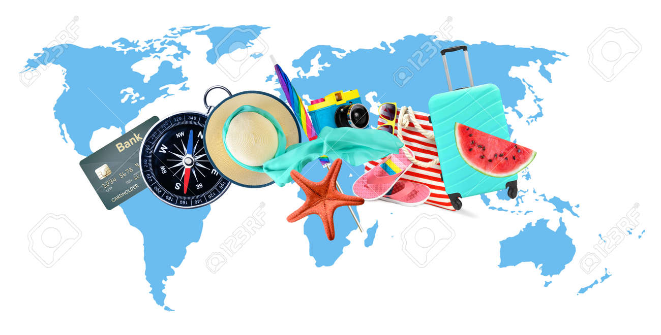 Leisure and travel accessories collage on world map background. - 169711077