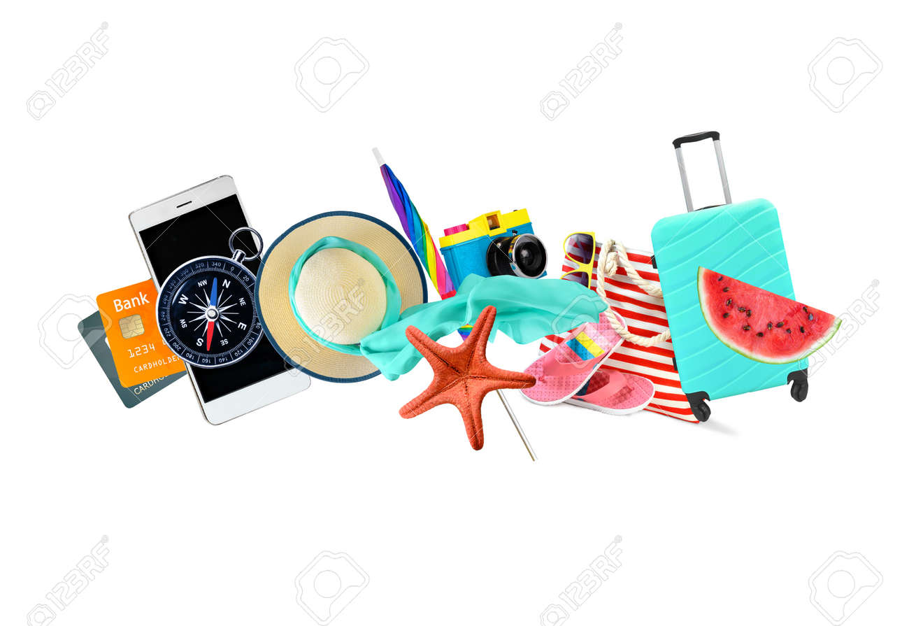 Leisure and travel accessories collage isolated on a white background. - 169711079
