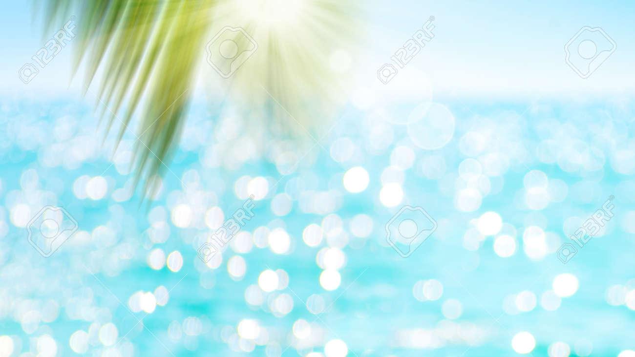 Green blur palm leaf on ocean with bokeh sun light background. - 169711154