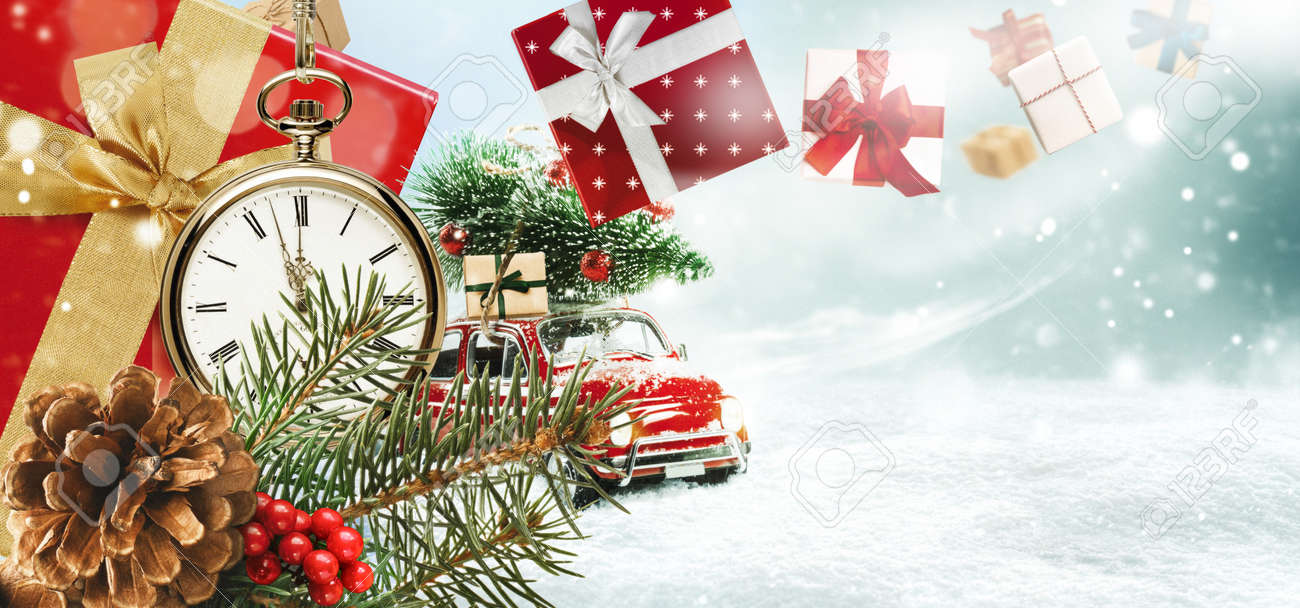 Christmas presents or New Year gifts on a snowy background. - 169711180