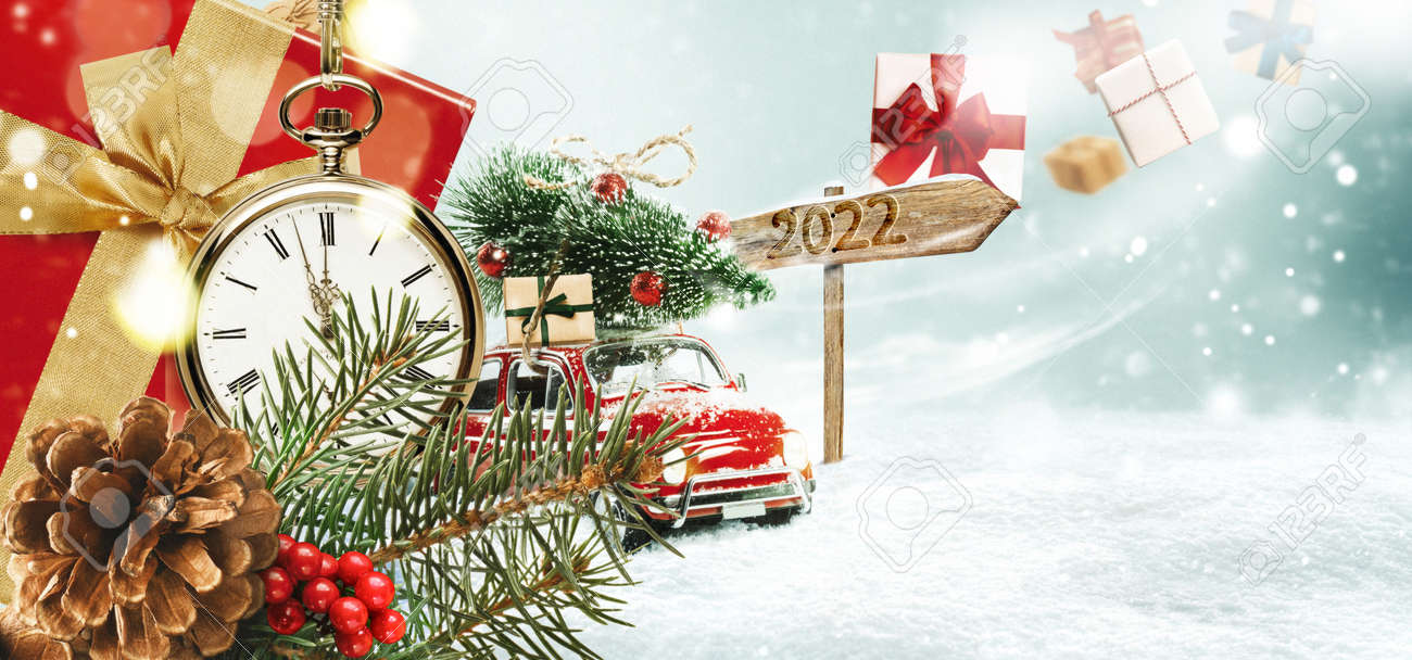 Christmas presents or New Year gifts on a snowy background. - 169711231
