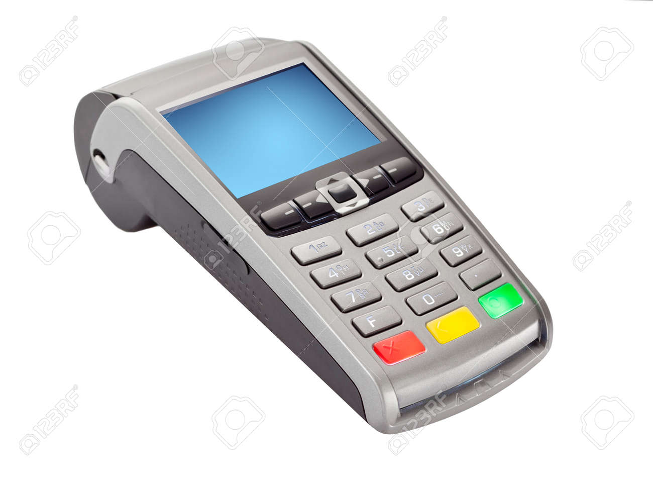 POS Payment Terminal for credit card payments isolated on white - 170024319