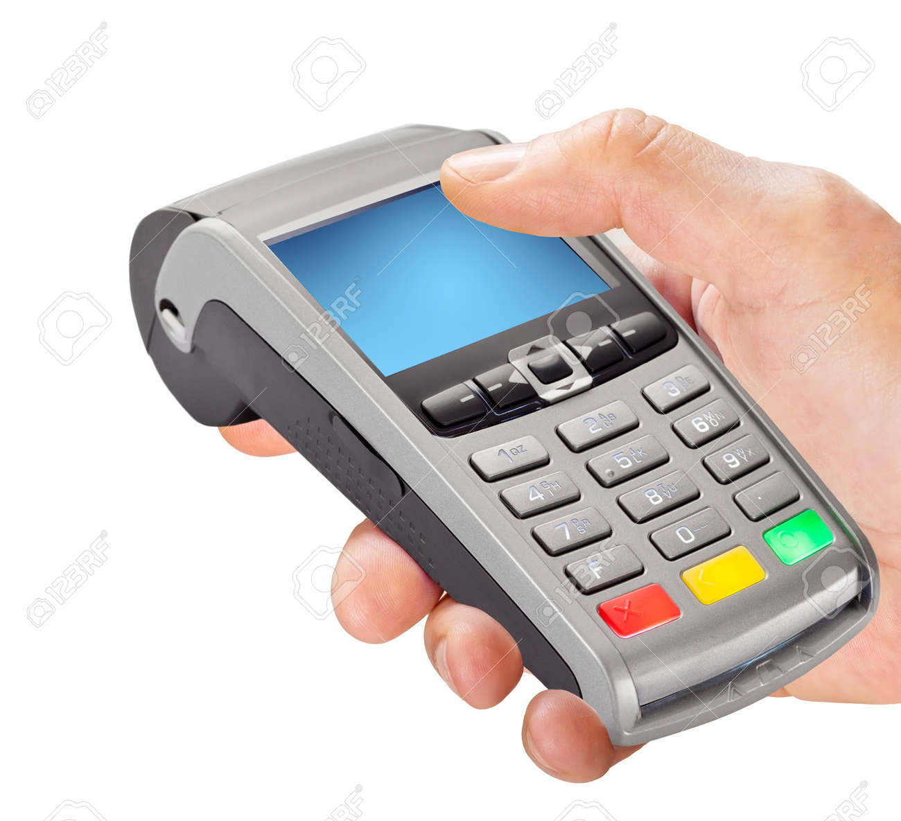 Hand holding POS pay terminal isolated on white background - 170032597