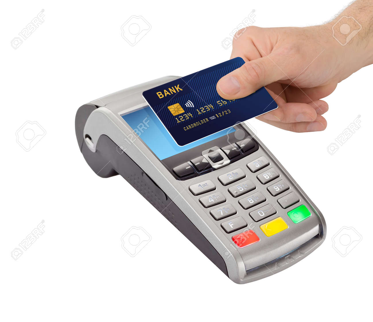 Hand hold bank card near pay terminal isolated on white background . Contactless payment, paypass. - 170037236