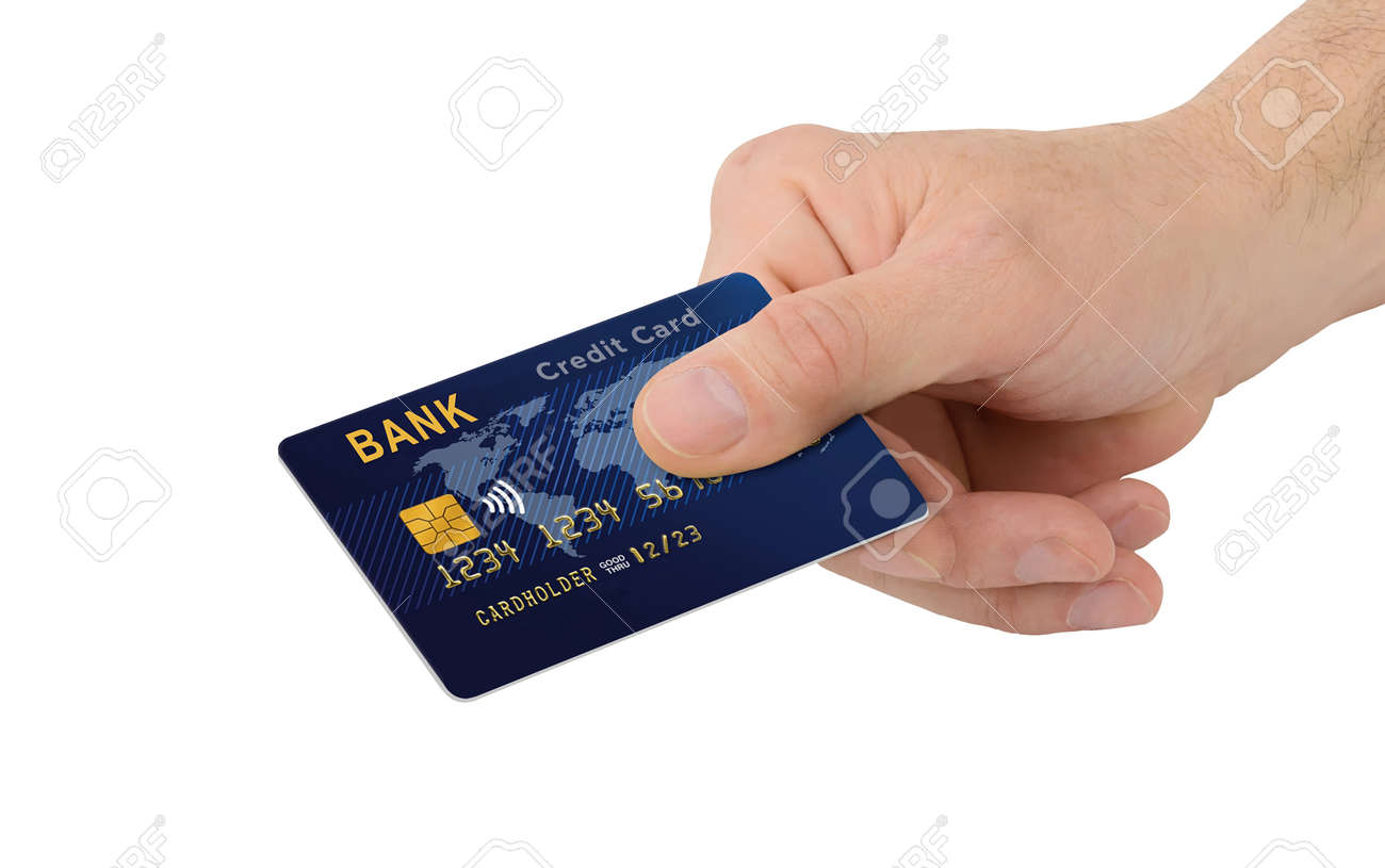 Male Hand with blue credit card with chip isolated on white background - 170946833