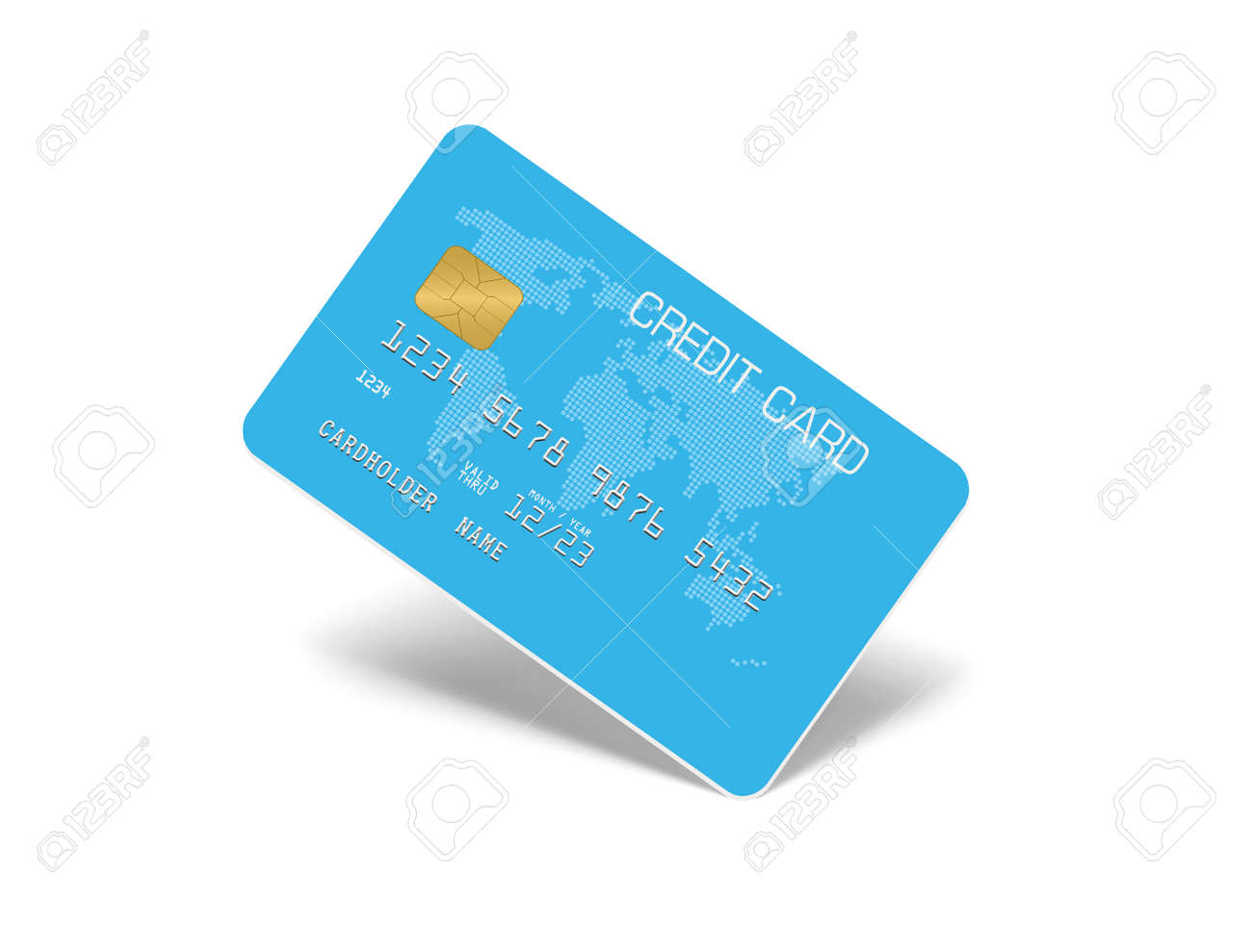 Aqua blue Credit Card Isolated on white with shadow - 170004291
