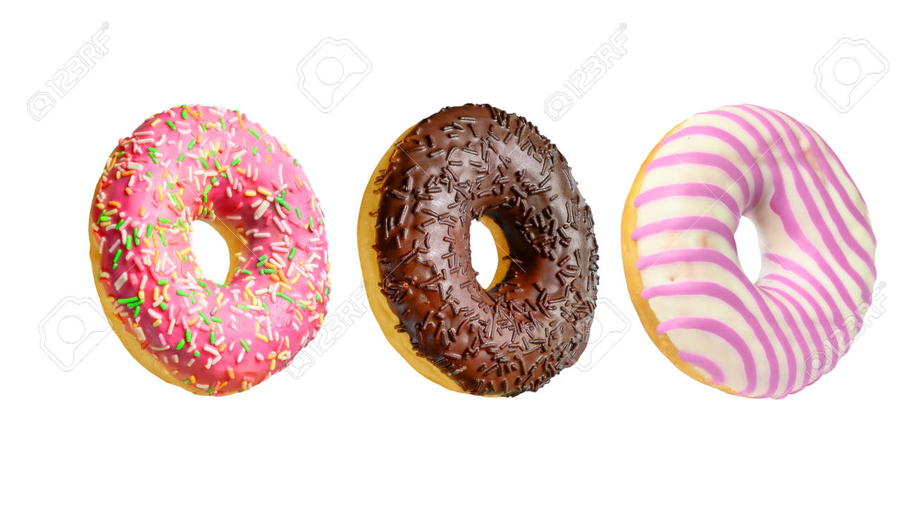 Assorted colorful doughnuts isolated on white background - 170023365