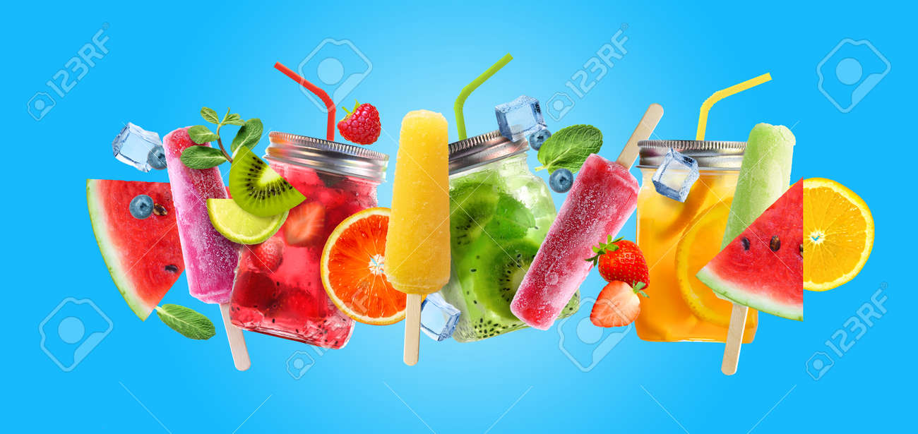 Bright Summer cocktail drinks and fruits on blue background. - 170946842