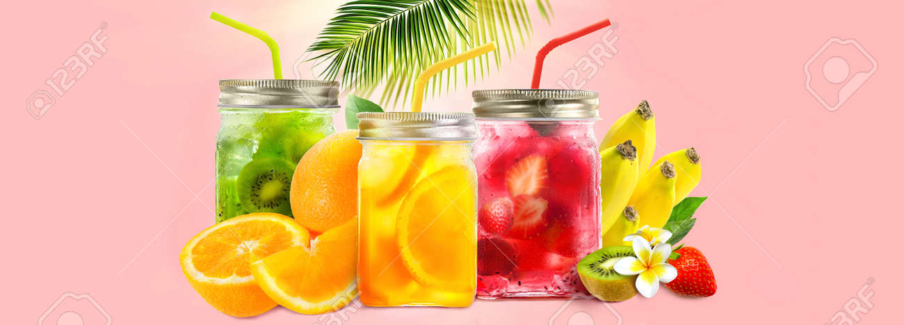 Fresh juice in jars with fruit mix on pink background. Concept of healthy summer cocktails, drinks, lemonade. Summer holiday - 170460114