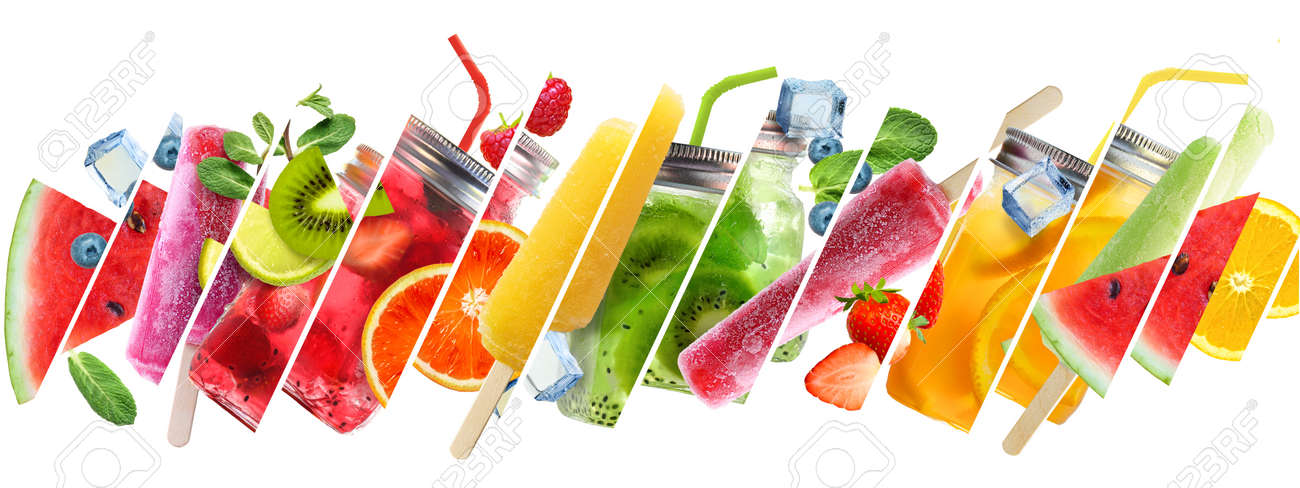Summer collage of cold drinks with fruits sticks - 170946843