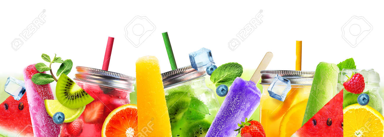Bright Summer cocktail drinks and fruits on a white background. - 170946845