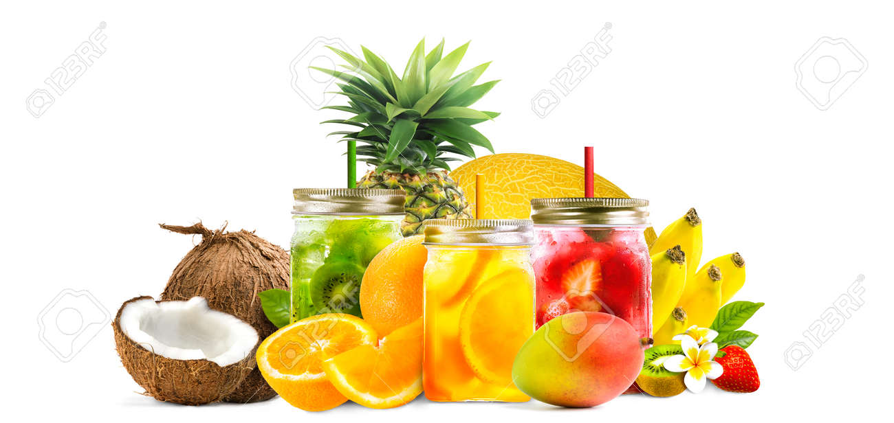 Assorted tropical fruits orange, pineapple, melon, mango, kiwi, banana with fresh juice in mason jars isolated on white background. Healthy summer cocktails, drinks composition - 170545453