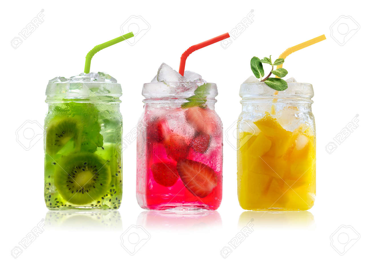 Bright Colorful refreshing summer drinks in glass jars and straws isolated on a white background - 170678019