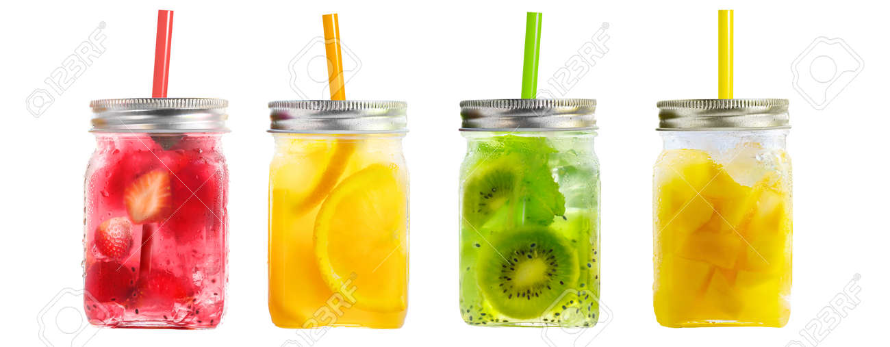 Bright Colorful refreshing summer drinks in mason jars with lid and straws isolated on a white background - 170702007