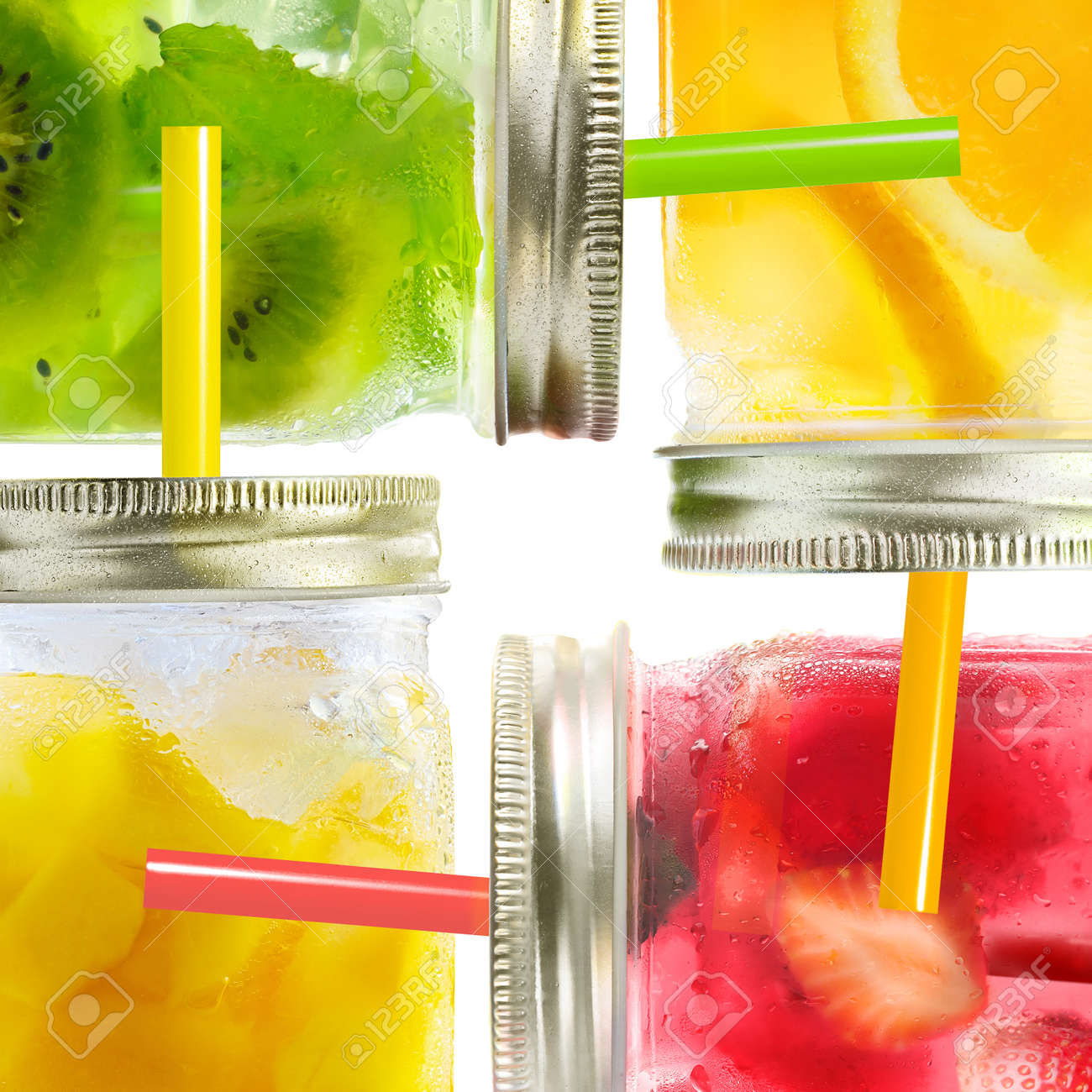 Concept collage of healthy summer cocktails, drinks, lemonade of fresh fruit mix in glass jars with straws - 170721801