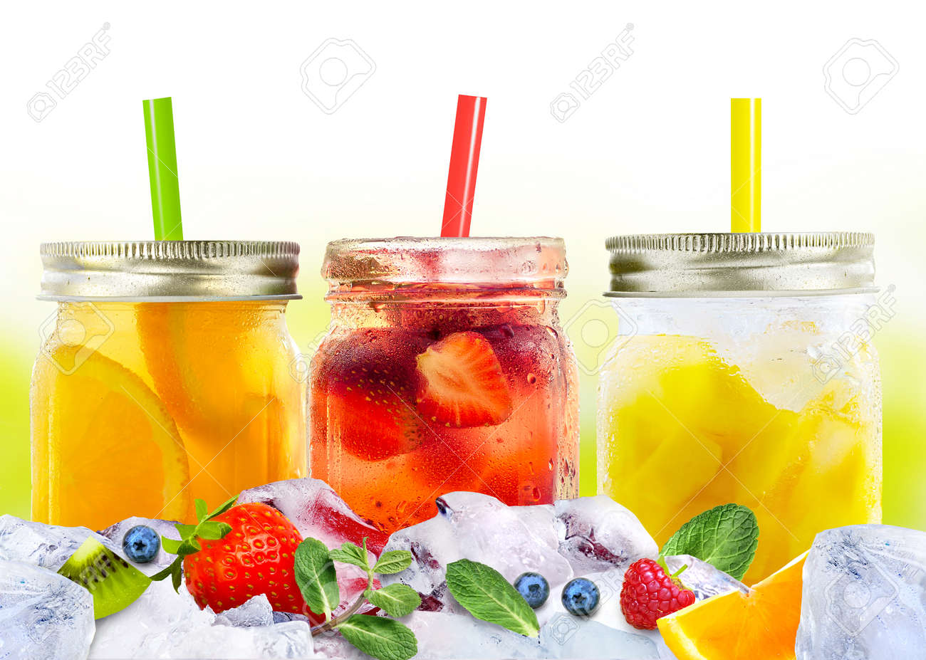 Bright Colorful refreshing summer beverages in glass jars and straws on ice with fruits and berries - 170845770