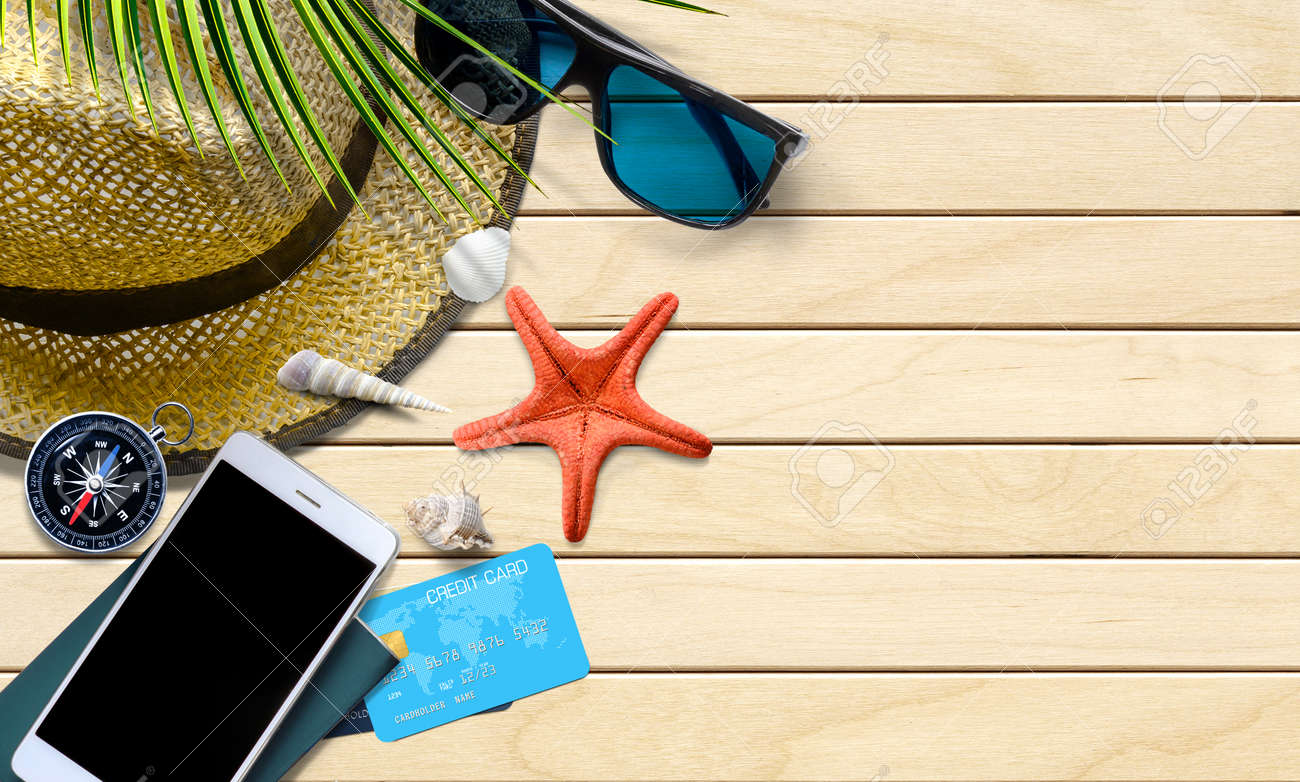 Summer vacation with traveler accessories and seashells. Top view - 171379346