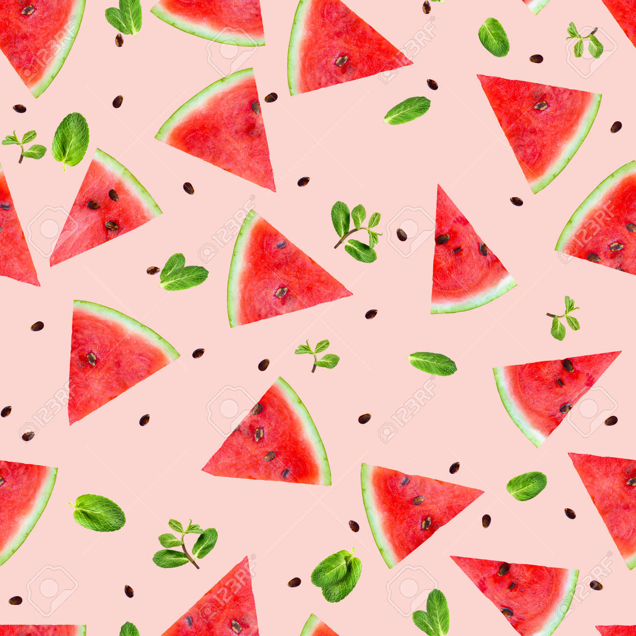 Pattern of watermelon slices with fresh mint leaves. - 171379351