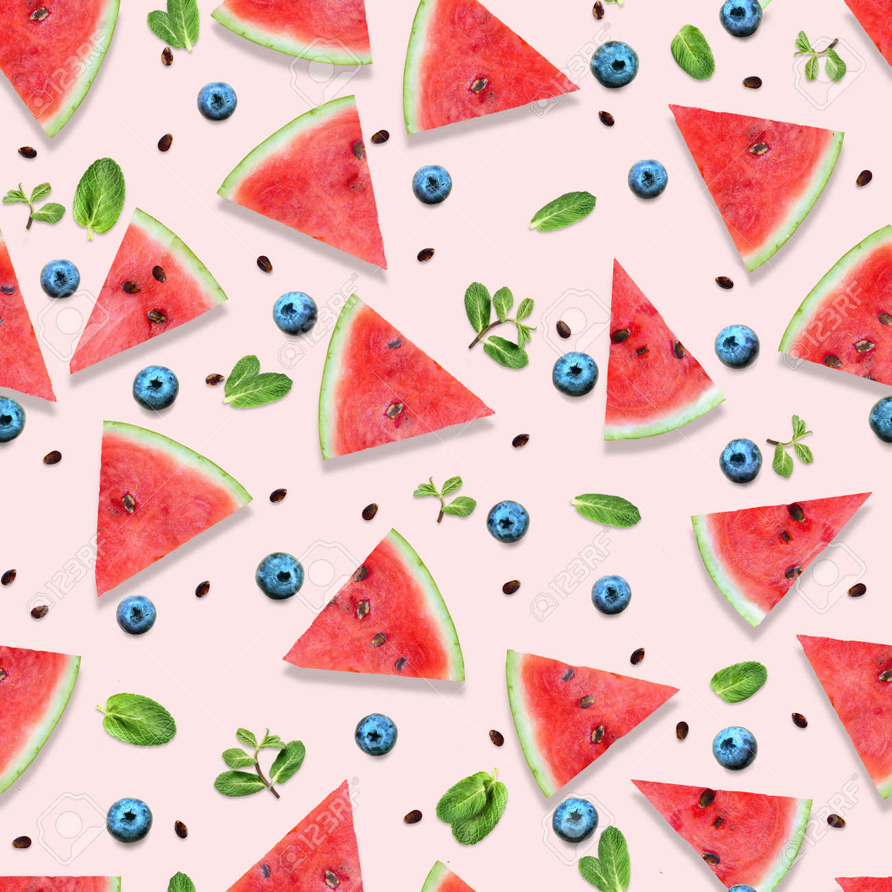 Pattern of watermelon slices with fresh mint leaves. - 171379350