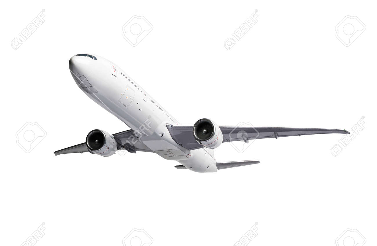 White modern Airliner isolated on white background. - 171548535
