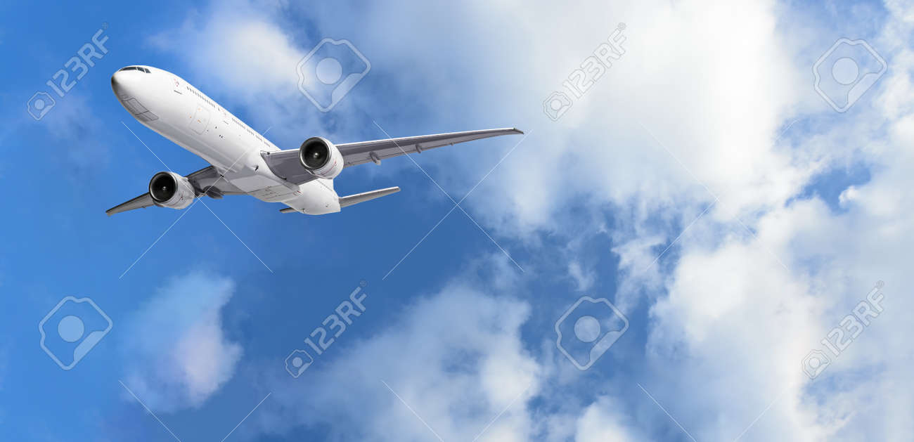 Airplane flying above clouds on blue sky background - 171738235