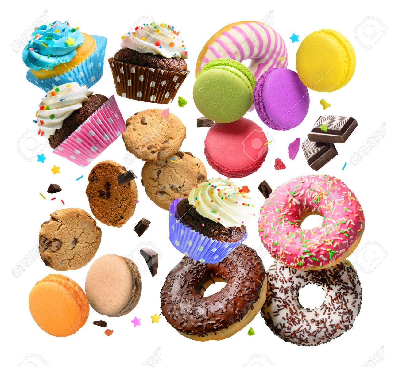 Confectionery and sweets collage. Donuts, cupcakes, cookies, macarons flying over white background. - 172307951
