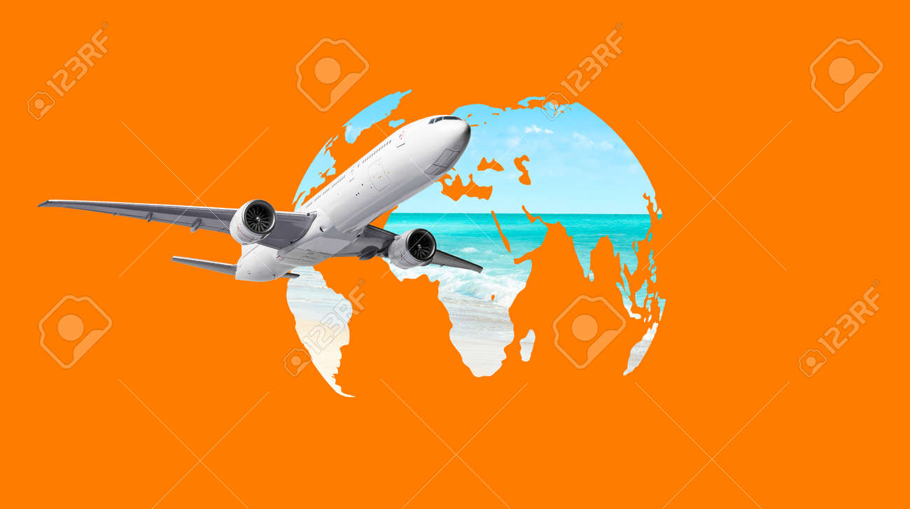 Airplane flying around the world map. Travel concept - 172331113