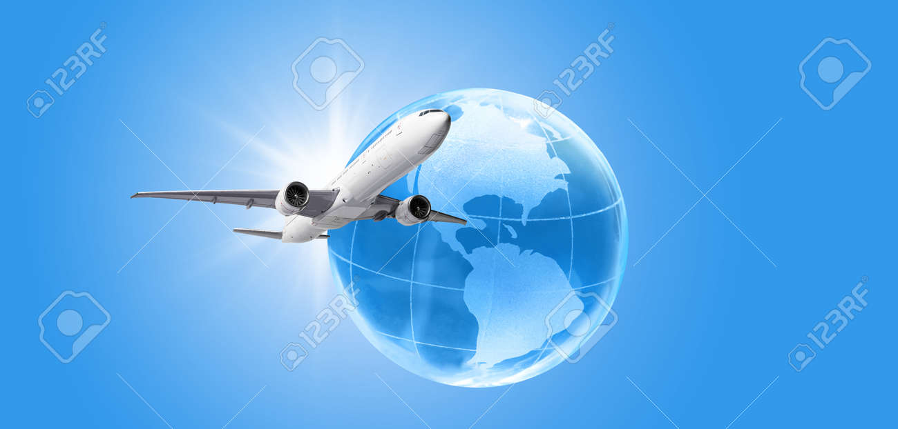 Airplane flying around the earth globe. Traveling and vacation concept - 172353845