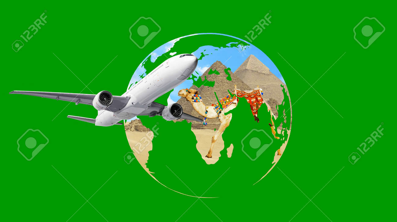 Airplane flies over the earth globe with pyramids of Cairo Egypt - 173897006