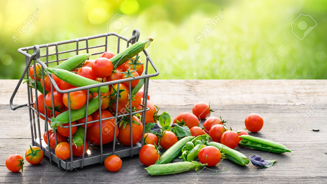 Tomatoes and green peas in metal basket on wooden rusrik table - 172450698