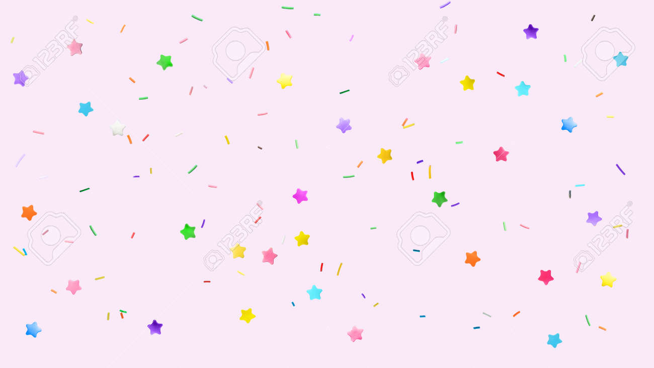 Colorful sprinkles on pink background, flat lay - 172669429