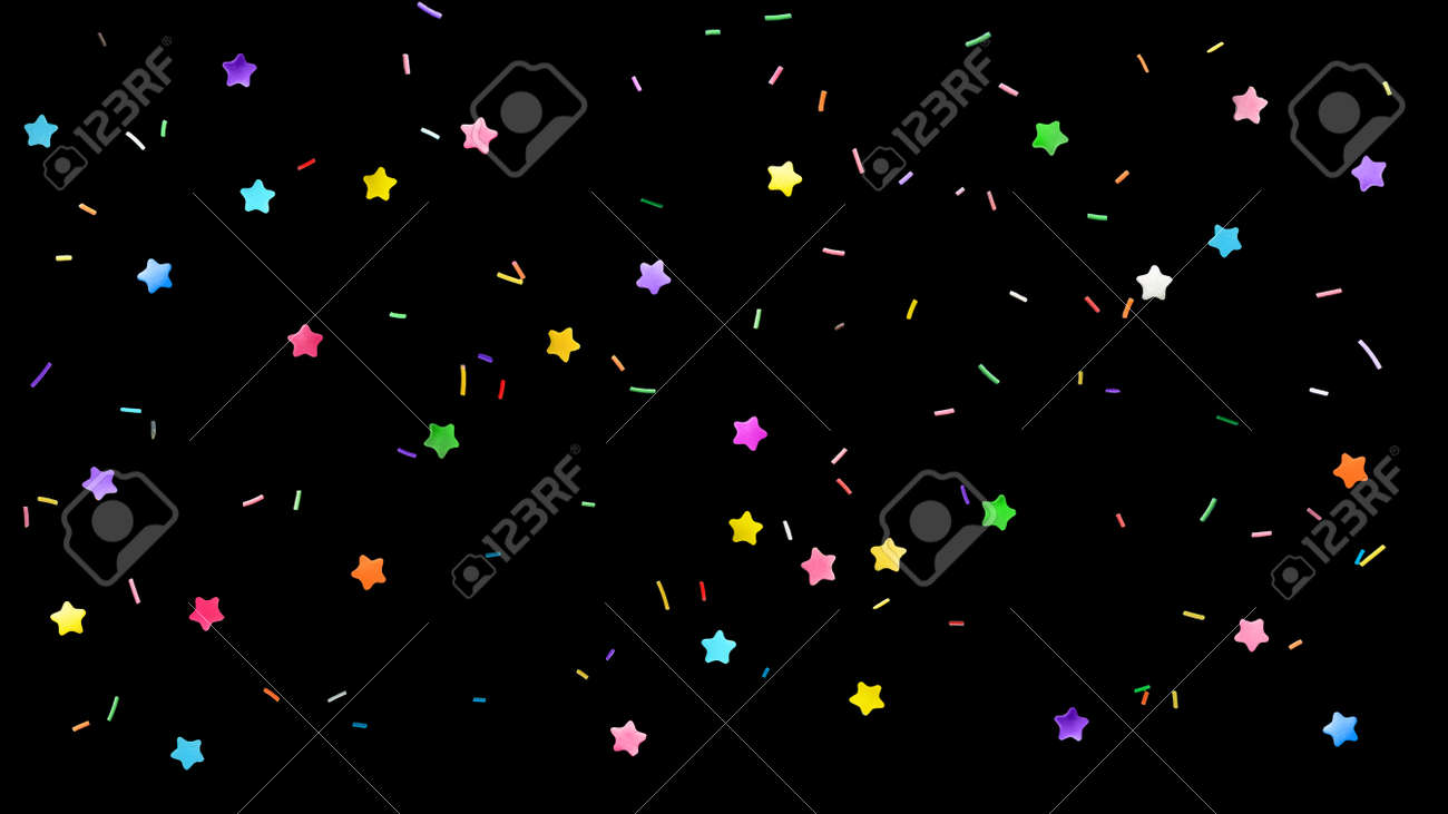Colorful sprinkles on black background, flat lay - 172669619