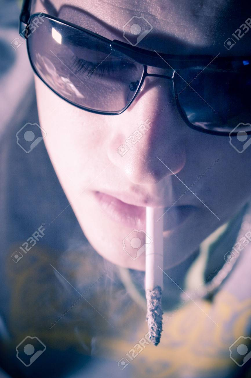 Young Man With Smoking Cigarette Attitude Stock Photo Picture