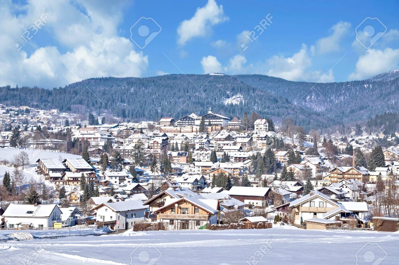 Winter In Village Of Bodenmais In Bavarian Forest Lower Bavaria