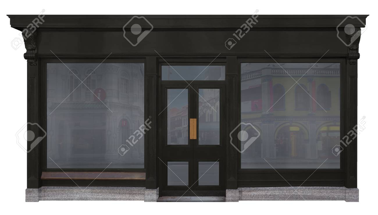 Storefront Windows And Doors storefront with black wood framed two shop windows and a door..