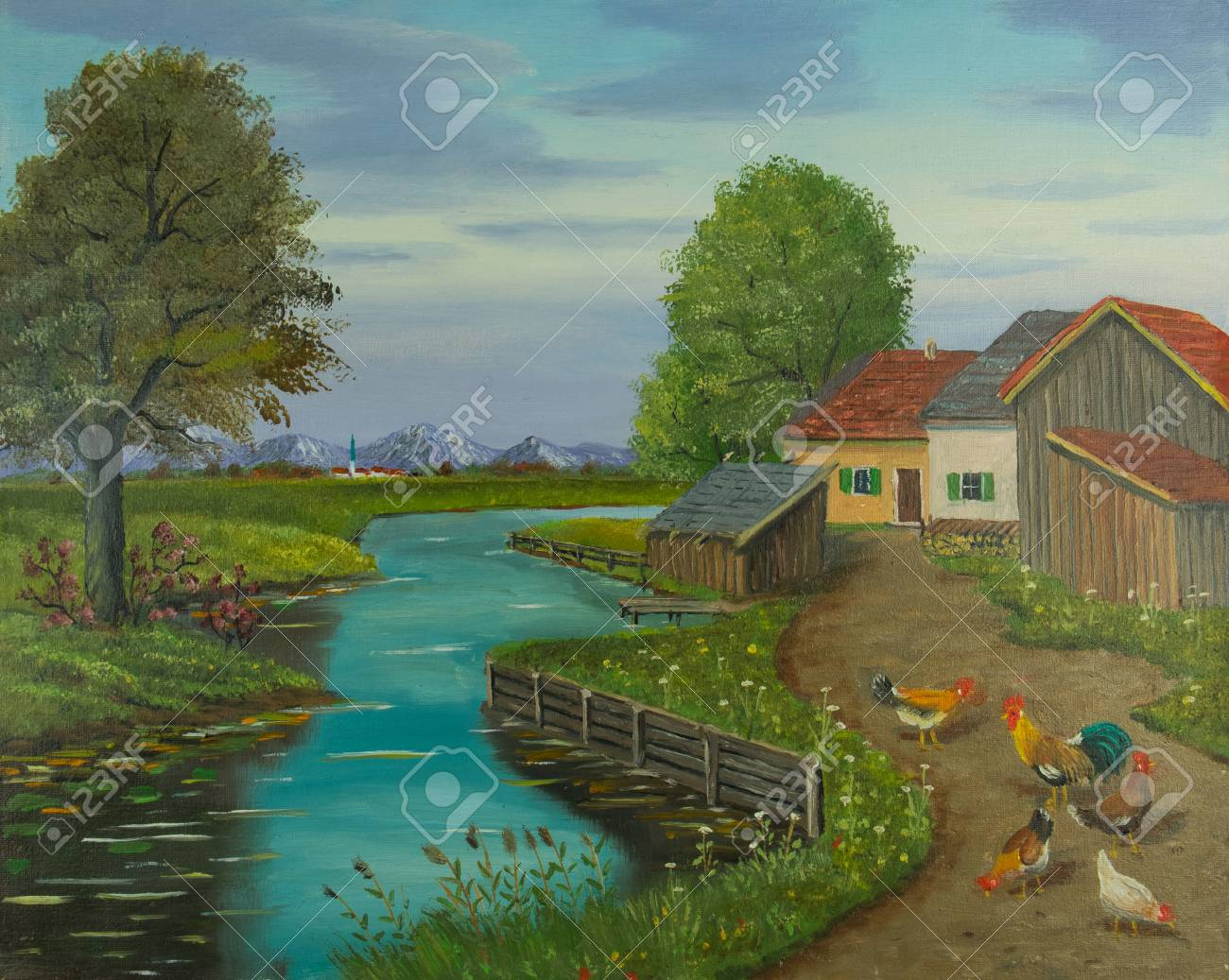 Oil painting of free-range chickens and a cock on a path beside the river - 113897129