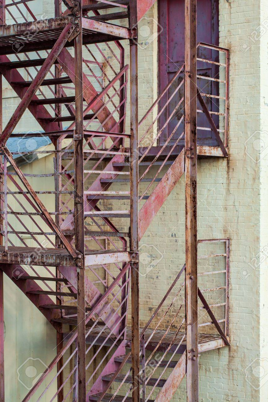 Exterior Fire Escape Stairs On Manufacturing Building Stock Photo   20616733