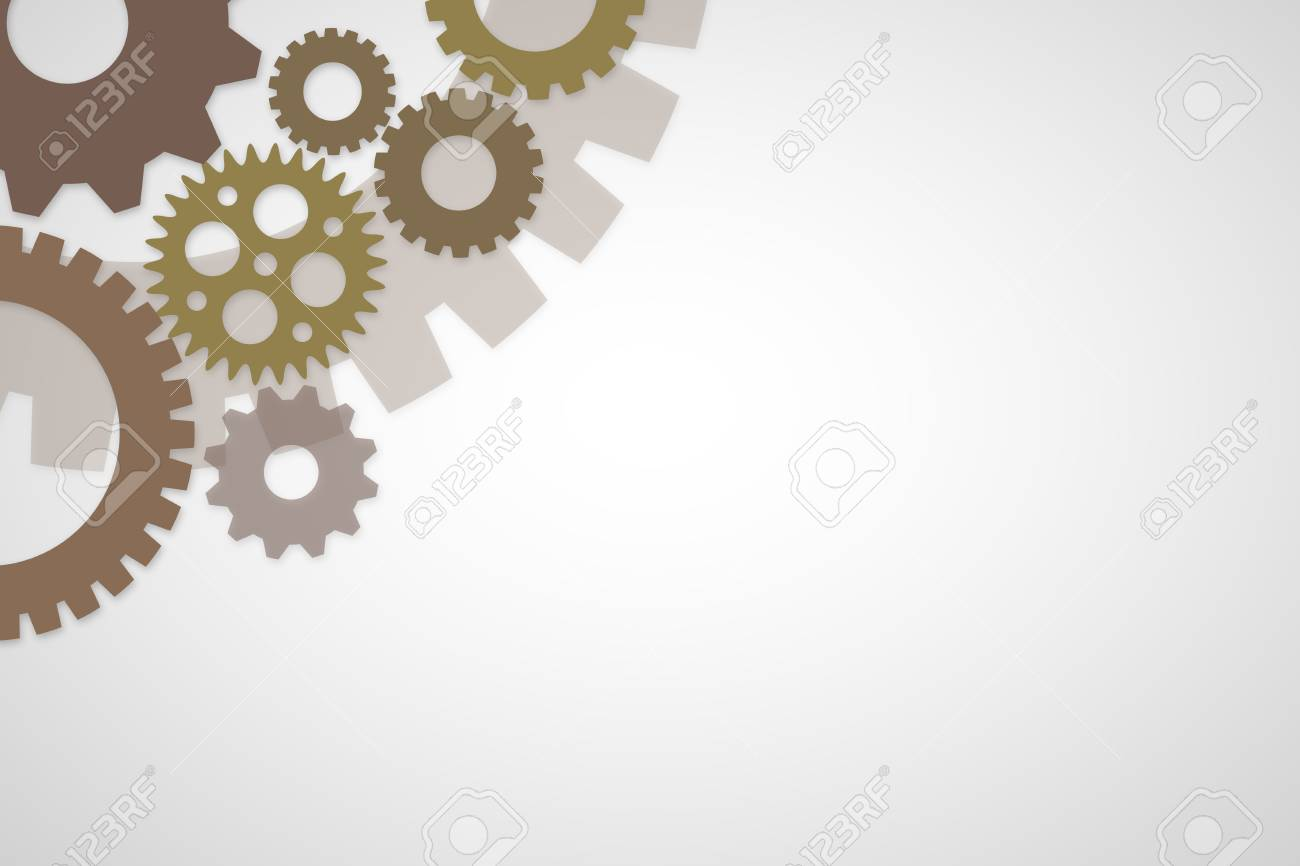 brown rusty colored gears template on white background for