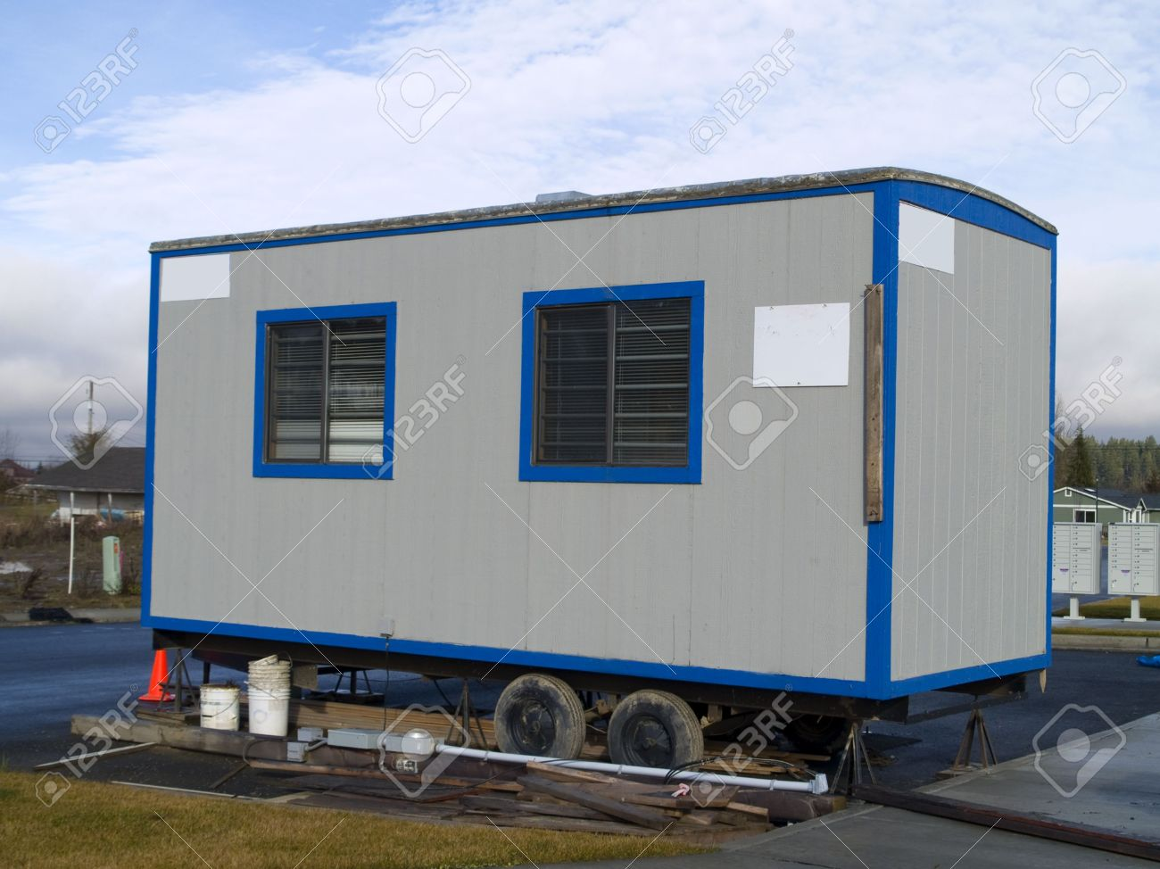 A Small Portable Office On Wheels At A Construction Site On A Stock Photo Picture And Royalty Free Image Image 2564755