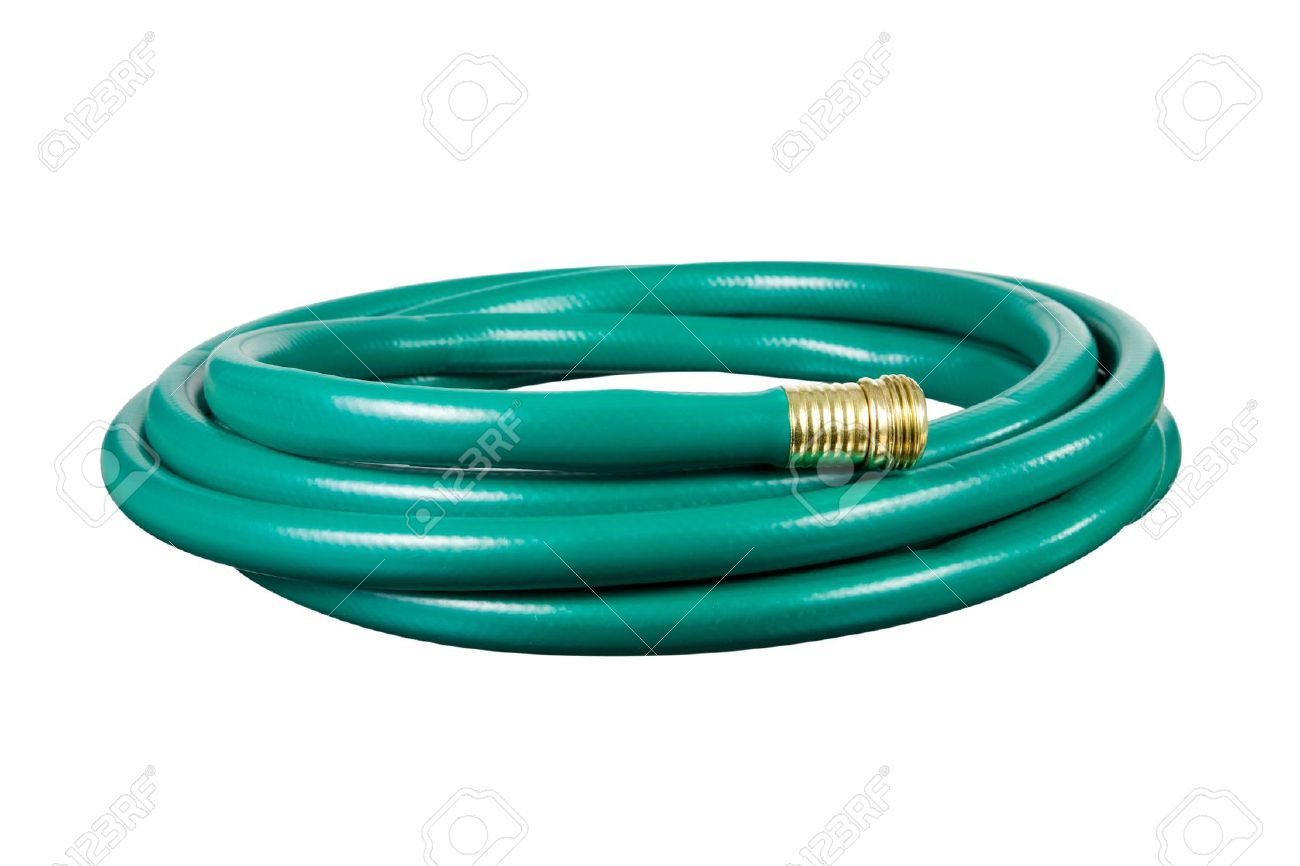 A Garden Hose Isolated On A White Background. Stock Photo   6996173