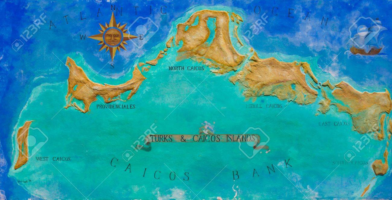 big map of caribbean island turks and caicos painted on the wall stock photo 28409563