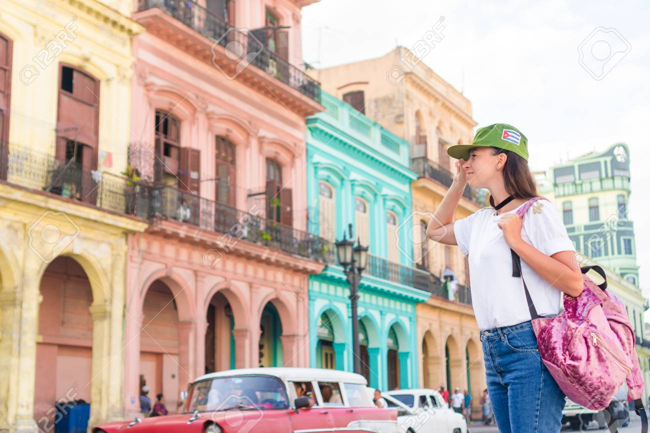 Young woman in popular area in old Havana, Cuba  Beautiful girl