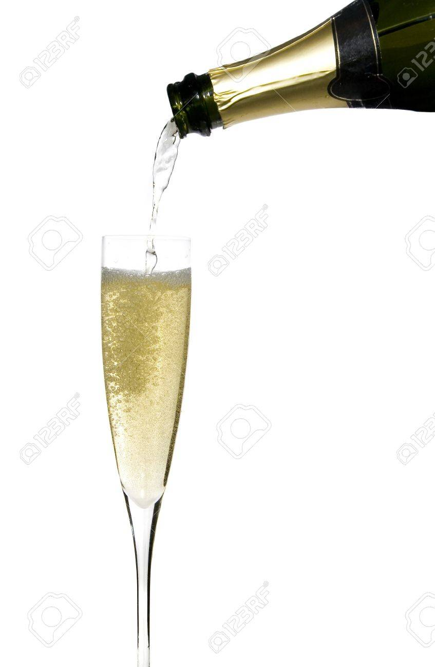 filling a glass cup with champagne wine isolated on withe background Stock Photo - 4038238