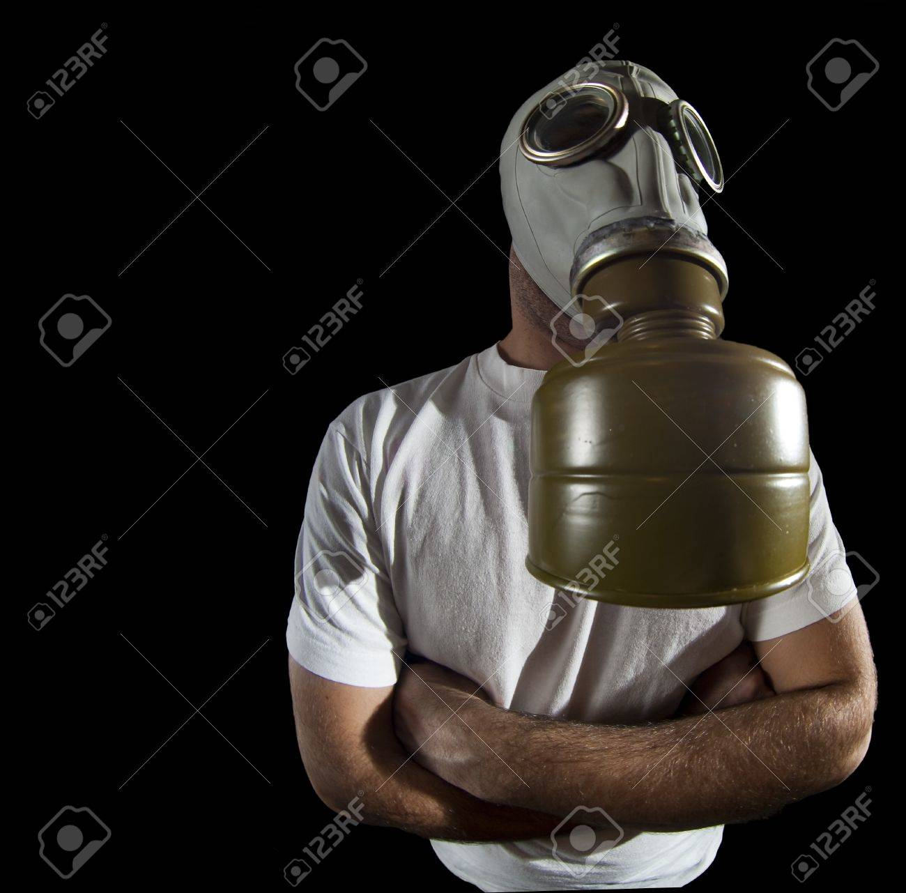 a man wearing a gas mask environment danger concept image Stock Photo - 4096112