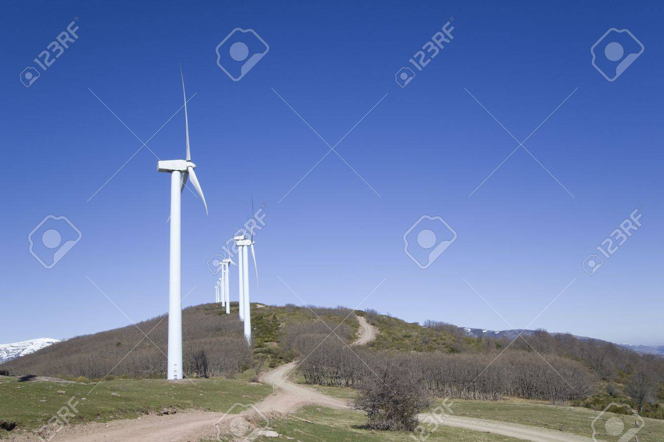 wind turbines renewable power over a blue sky Stock Photo - 5741232