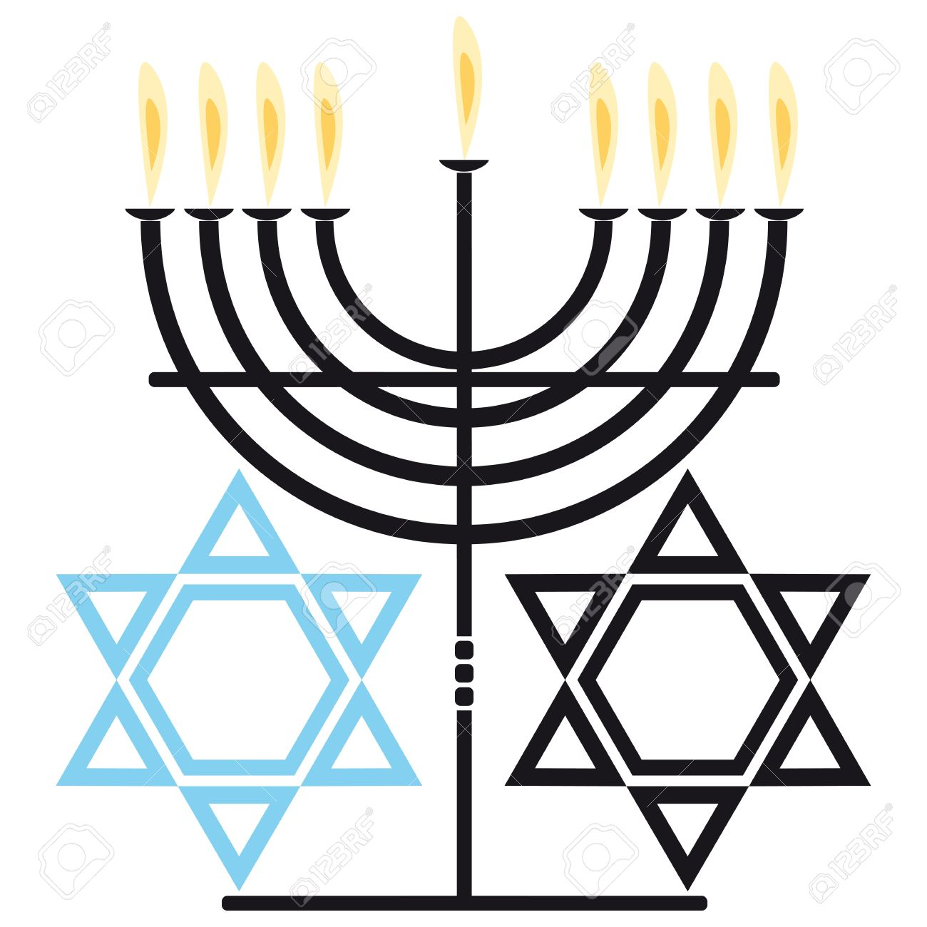 Two Symbols Of The Jewish Religion Nine Flame Candelabra And