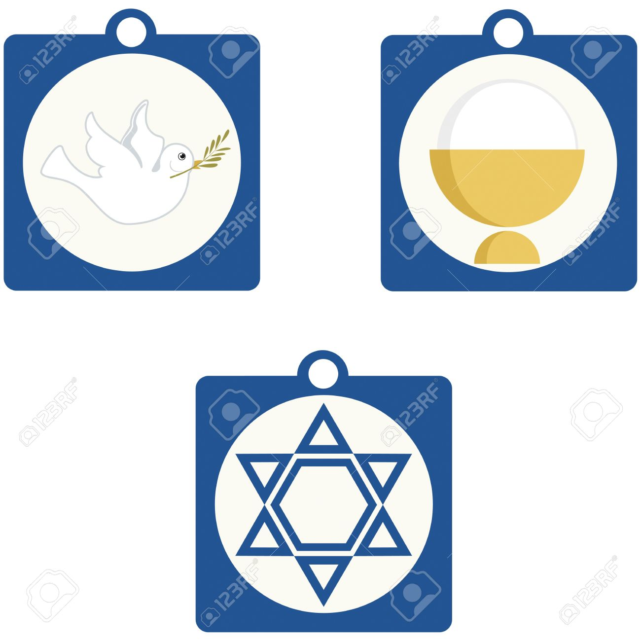 Christian And Jewish Religious Symbols Royalty Free Cliparts