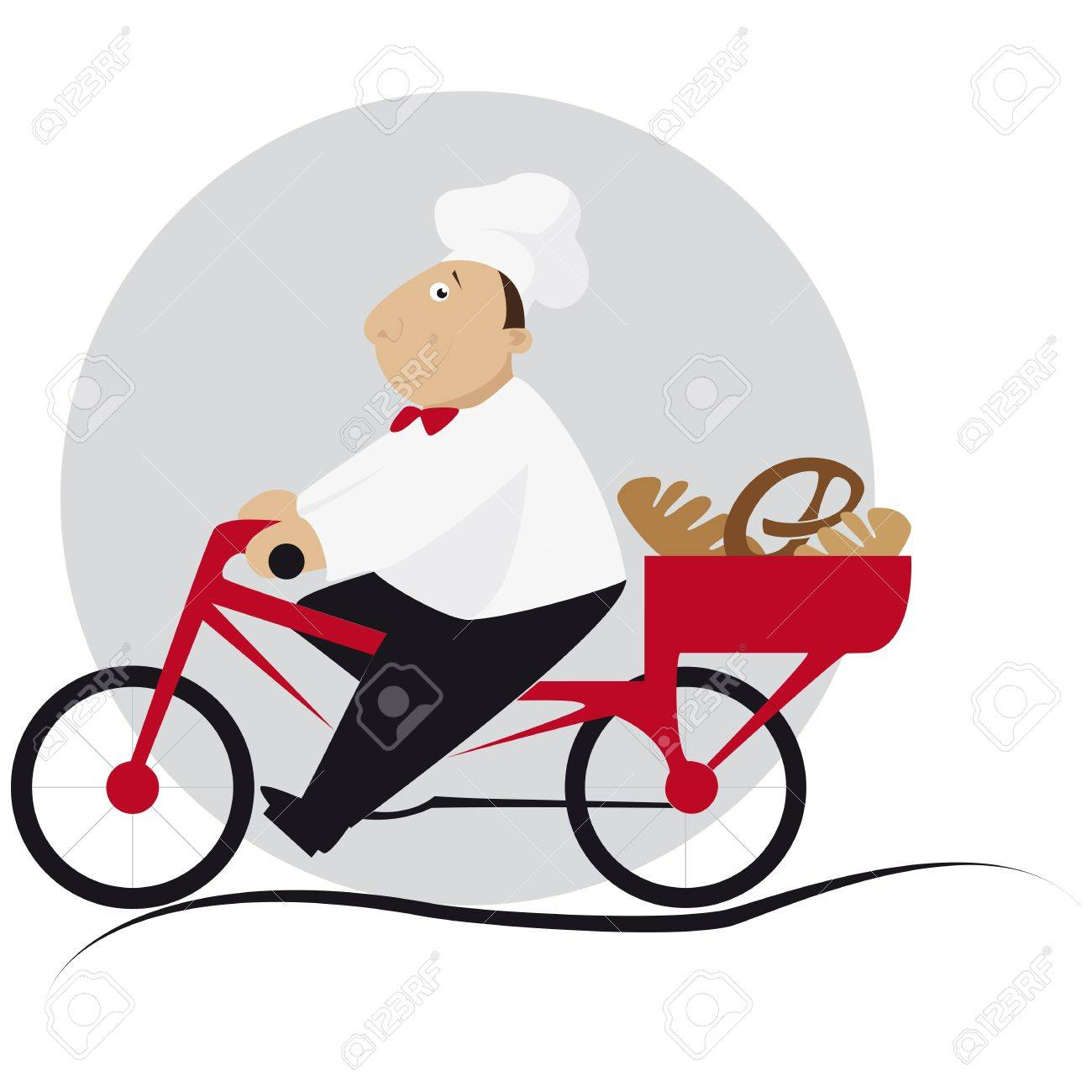 Baker takes the bread in the basket on the bicycle Stock Vector - 13229935